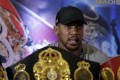 British heavyweight boxer Anthony Joshua speaks during a press conference with US heavyweight boxer Jarrell Miller in London in February. Photo: AP