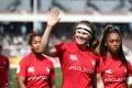 Canada's players wave at the crowd at the Kitakyushu Sevens in Japan. Photo: Twitter/HSBC Sport
