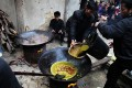 Preparation for ox dung hotpot begins with a soup or stock made from fluids drained from bovine stomachs. Photo: Weibo
