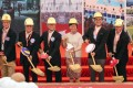 Hong Kong Chief Executive Carrie Lam Cheng Yuet-ngor and other officials at the groundbreaking ceremony on Tuesday for the new Kai Tak Sports Park. Photo: Sam Tsang