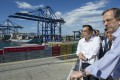 Chinese Premier Li Keqiang inspecting the Piraeus Container Terminal near Athens, the capital of Greece. Photo: Xinhua