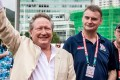 Andrew Forrest, pictured with HKRU chief executive Robbie McRobbie, before the first Global Rapid Rugby game in Hong Kong. Photo: Ike Li