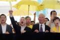 Chan Kin-man; Benny Tai Yiu-ting; Reverend Chu Yiu-ming; and Legislator Tanya Chan Suk-chong at the West Kowloon Law Courts. Photo: Sam Tsang