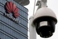 A surveillance camera is seen in front of the Huawei logo outside its factory campus in Dongguan, China, in March. Photo: Reuters