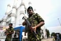 Soldiers stand guard outside a mosque in Colombo on April 26. Photo: AFP