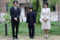 Japan's Prince Hisahito and his parents Prince Akishino and Princess Kiko at Ochanomizu University Junior High School in Tokyo on April 8, 2019. Photo: EPA