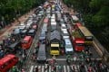 Jakarta is choked with the world's worst traffic congestion, according to a 2016 study by Castrol. Photo: AFP