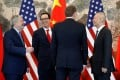 Chinese Vice-Premier Liu He, US Treasury Secretary Steven Mnuchin, US Trade Representative Robert Lighthizer, and US Ambassador to China Terry Branstad talk after concluding their meeting at the Diaoyutai State Guesthouse in Beijing, China, May 1, 2019. Photo: Reuters