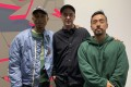 Singer Pharrell Williams (left) and collector Kevin Poon (right) with Brian Donnelly, also known as artist Kaws. Photo: Kevin Poon
