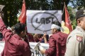 Muslim protesters march with banners against the LGBT community in Indonesia. Photo: AFP