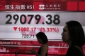 A display showing the share index at the Hong Kong stock exchange on Monday. Photo: AP