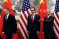 Chinese Vice Premier Liu He (right) is still set to visit Washington this week for further trade talks with US Treasury Secretary Steven Mnuchin (centre) and US trade representative Robert Lighthizer. Photo: AFP