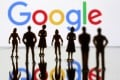 Small toy figures are seen in front of Google logo in this illustration picture, April 8, 2019. Photo: Reuters