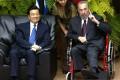 Chinese president Hu Jintao with Cuban president Fidel Castro in Havana, Cuba, in November 2004. Photo: AP