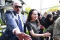Huawei CFO Meng Wanzhou leaves for court in Vancouver, Canada, on Wednesday. Photo: AFP