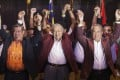 Malaysian Prime Minister Mahathir Mohamad (centre) and other members of Pakatan Harapan celebrate after last year's elections. Photo: EPA