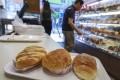 Popular breads in Hong Kong (from left) the cocktail bun, pineapple bun and piggy bun at Tin Lok Bakery in Wan Chai. Photo: May Tse
