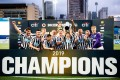 Newcastle United celebrate retaining the Main Cup at the HKFC Citi Soccer Sevens. Photo: Handout