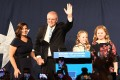 Scott Morrison, Prime Minister of Australia and leader of the Liberal Party, delivers a victory speech accompanied by his family. Photo: EPA-EFE