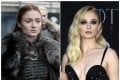 Sophie Turner's character in Game of Thrones, Sansa Stark, (left) and the actress at the final season premiere in New York. Photos: HBO, Invision/AP