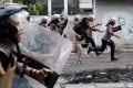 Police disperse protesters at Tanah Abang in Jakarta. Photo: Reuters