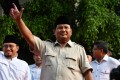 Prabowo Subianto gestures after a press conference during the general election in Jakarta in April. Photo: AFP