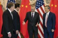 Chinese Vice Premier Liu He (second right) at the Diaoyutai State Guesthouse in Beijing on March 29 with (from the left) US Trade Representative Robert Lighthizer, US Treasury Secretary Steven Mnuchin and Chinese central bank chief Yi Gang. Photo: AP