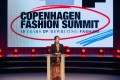 Mary, Crown Princess of Denmark, patron of the Copenhagen Fashion Summit, speaks to industry leaders and other guests at the two-day event which focused on sustainability in fashion. Photo: Getty Images