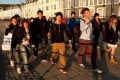 A group of overseas Chinese university students on Aberystwyth promenade, Wales UK. Photo: Alamy