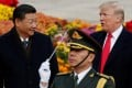 US President Donald Trump at a welcoming ceremony in Beijing with China's President Xi Jinping in 2017. Photo: Reuters