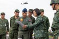 President Tsai Ing-wen and senior Taiwanese military staff during an exercise in southern county Changhua, not far from one of the island's main airbases at Taichung. Photo: Facebook