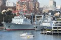 Two warships from the People's Liberation Army Navy at Garden Island Naval Base in Sydney, Australia. Photo: EPA