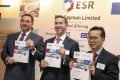 (From left) Stuart Gibson, co-founder and Co-CEO of ESR Cayman; chairman Jeffrey Perlman and group CFO Wee Peng Cho, at a press conference to announce the company's IPO in Hong Kong, on Wednesday. Photo: K. Y. Cheng