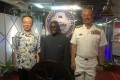 Manasseh Sogavare, prime minister of Solomon Islands (centre), joins Taiwan's ambassador to the Pacific nation Roger Luo (left) and Commander Rear-Admiral Wang Cheng-chung aboard a Taiwanese naval vessel. Photo: CNA