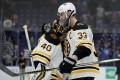 Tuukka Rask and Zdeno Chara, who has been playing with a broken jaw, of the Boston Bruins celebrate their teams 5-1 win over the St Louis Blues in Game Six of the 2019 NHL Stanley Cup Final. Photo: AFP
