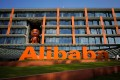 The Alibaba logo at the company's headquarters in Hangzhou in 2018. Photo: Reuters