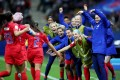Mallory Pugh (2) of the USA celebrates her goal with teammates during the Fifa Women's World Cup 2019 win over Thailand. Photo: EPA
