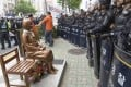 A statue of comfort woman in front of the Japanese Consulate in Busan. The issue has long been a source of strain between Japan and South Korea. Photo: Kyodo