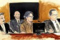 A courtroom sketch from April 2018 shows Keith Raniere (centre) during a hearing in New York. Image: Elizabeth Williams via AP