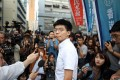 Pro-democracy activist Joshua Wong after his release from prison at Lai Chi Kok Reception Centre. Photo: Winson Wong