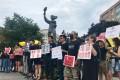 Demonstrators gathered around the Victims of Communism Memorial in Washington on Sunday. Photo: Nectar Gan