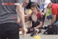Geraint Thomas sits up after his heavy fall at the Tour de Suisse on Tuesday. Photo: Daniel McMahon/Twitter