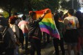 Hanoi's LGBTI community gathers in November 2015 to celebrate a law passed by the Vietnamese government enshrining rights for transgender people. Photo: AFP