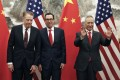 The US Trade Representative Robert Lighthizer (left) and Treasury Secretary Steven Mnuchin (centre) will continue discussions with Chinese Vice-Premier Liu He (right). Photo: AP