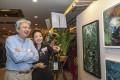 Sharon Cheung with former Hong Kong financial secretary John Tsang at her solo art exhibition in Tsim Sha Tsui. Photo: Xiaomei Chen