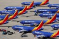 A number of grounded Southwest Airlines Boeing 737 MAX 8 aircraft are parked at Victorville Airport in California in March. Photo: Reuters