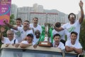 Wofoo Tai Po players and staff celebrate their first Hong Kong Premier League title. Photo: K.Y. Cheng