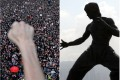 Protesters march in Hong Kong against an extradition bill. A number have been channelling the spirit of Bruce Lee, whose statue is seen in Tsim Sha Tsui. Photos: AFP/Sam Tsang