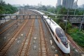 The G7 Fuxing bullet train prepares to head for Shanghai at the Beijing South Railway Station on July 1, 2018. Photo: Xinhua