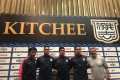 New Kitchee coach Sliskovic (right) and Kitchee new signings – Willingsson Souza, Cleiton de Oliveira and Bleda Rodriguez. Photo: Chan Kin-wa